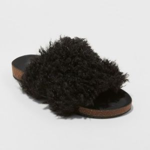 Universal Thread   Ember Two Band Faux Fur Slides